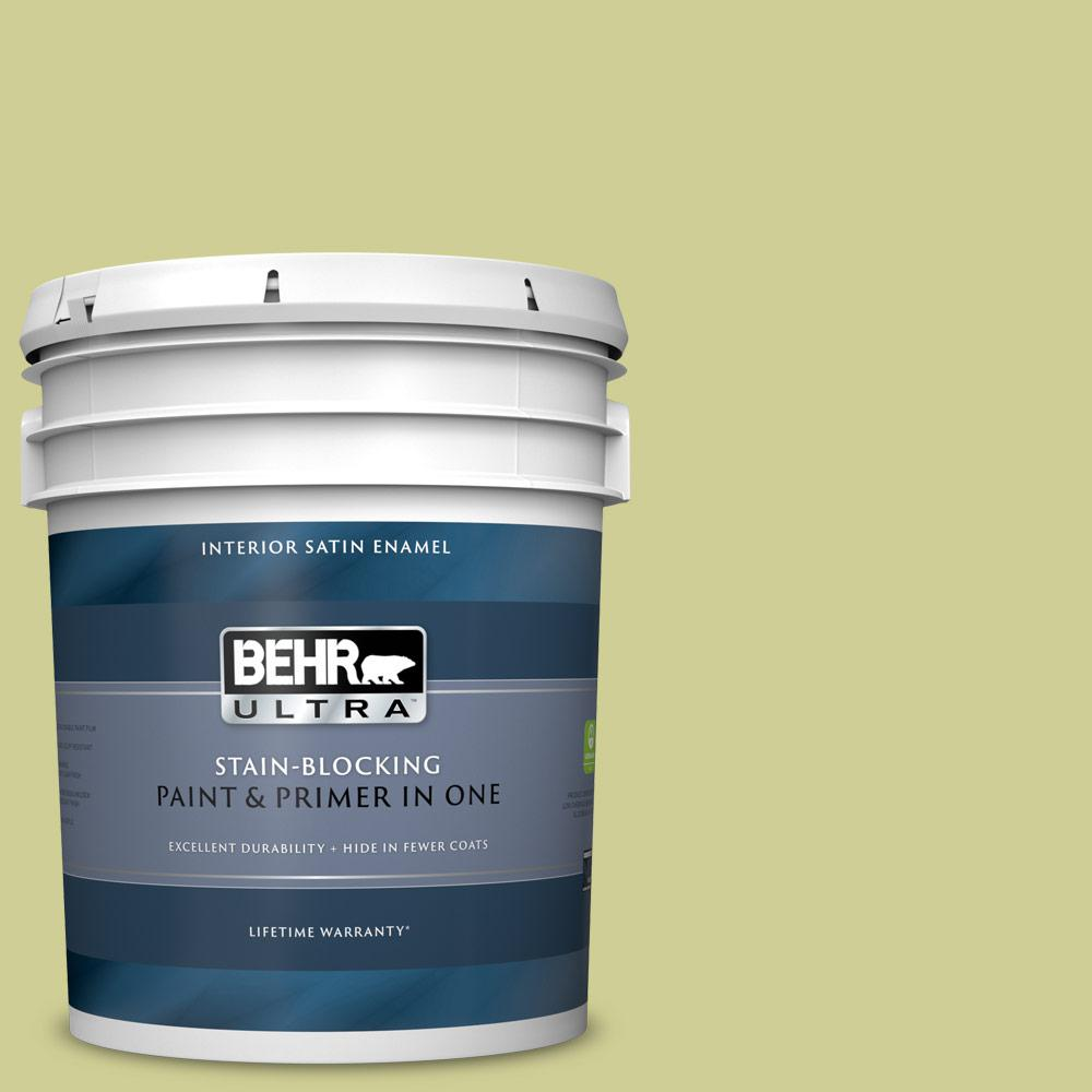 Behr Ultra 5 Gal M340 4 Wasabi Satin Enamel Interior Paint And Primer In One 775405 The Home Depot