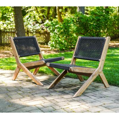 Athens Stationary Wood Outdoor Lounge Chair (2-Pack)
