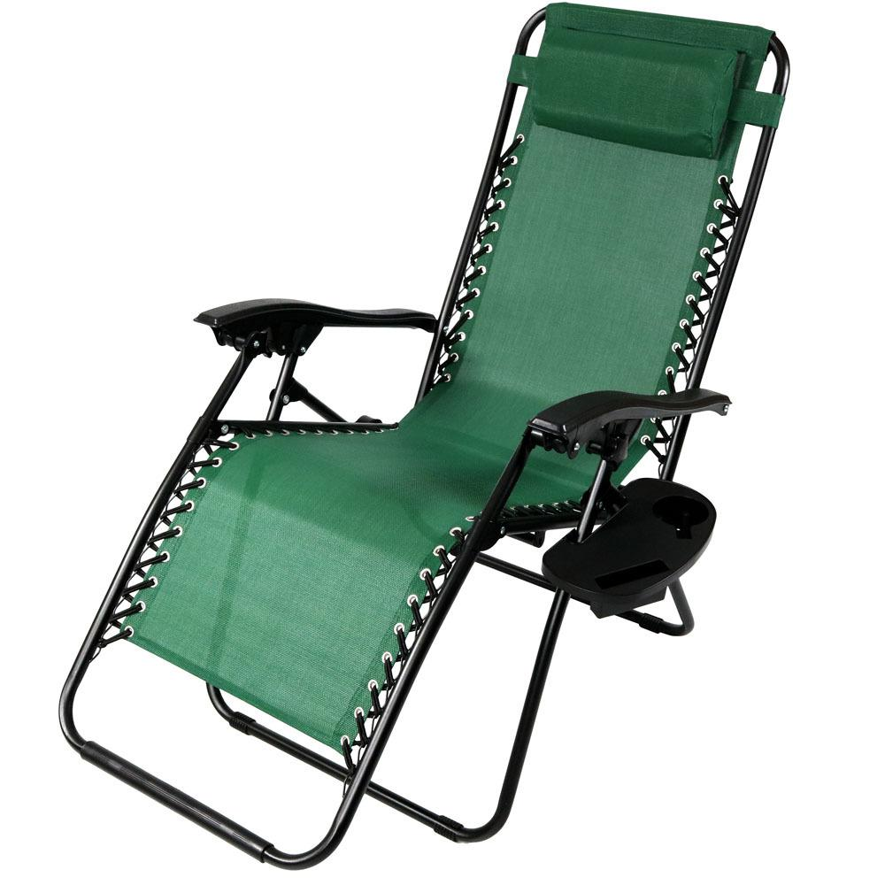 Set of 2 Sunshade /& Drink Tray in Lime Green Oversized Zero Gravity Chair