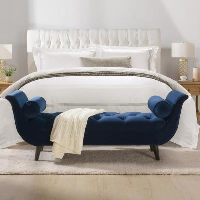 Alma Navy Blue Tufted Entryway Bench
