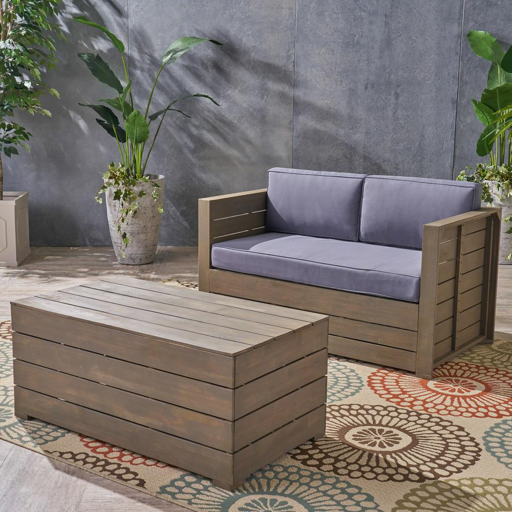 Noble House Oxnard Gray 2-Piece Wood Patio Conversation Set with Dark Gray Cushions