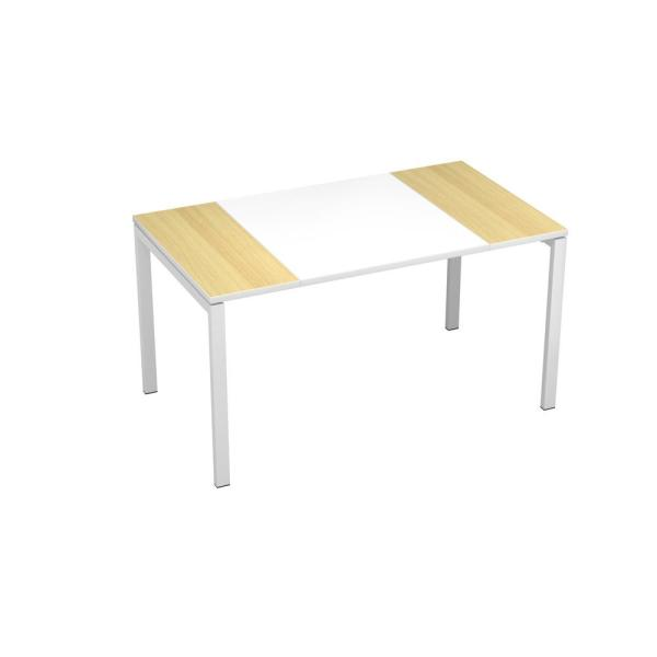 Paperflow easyDesk White Middle with Beech Ends 55 in. Long Training
