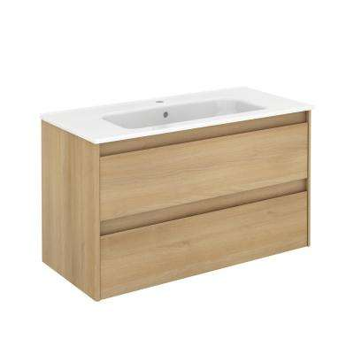 39.8 in. W x 18.1 in. D x 22.3 in. H Bathroom Vanity Unit in Nordic Oak with Vanity Top and Basin in White