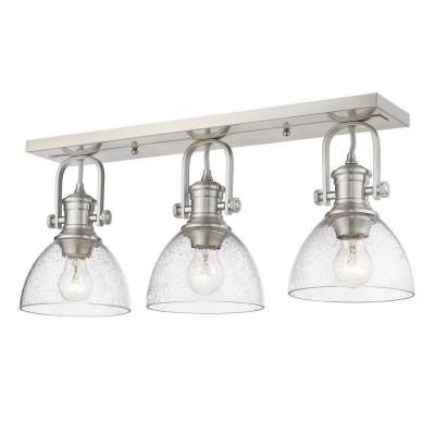 Hines 25.13 in. 3-Light Pewter with Seeded Glass Semi-Flush Mount