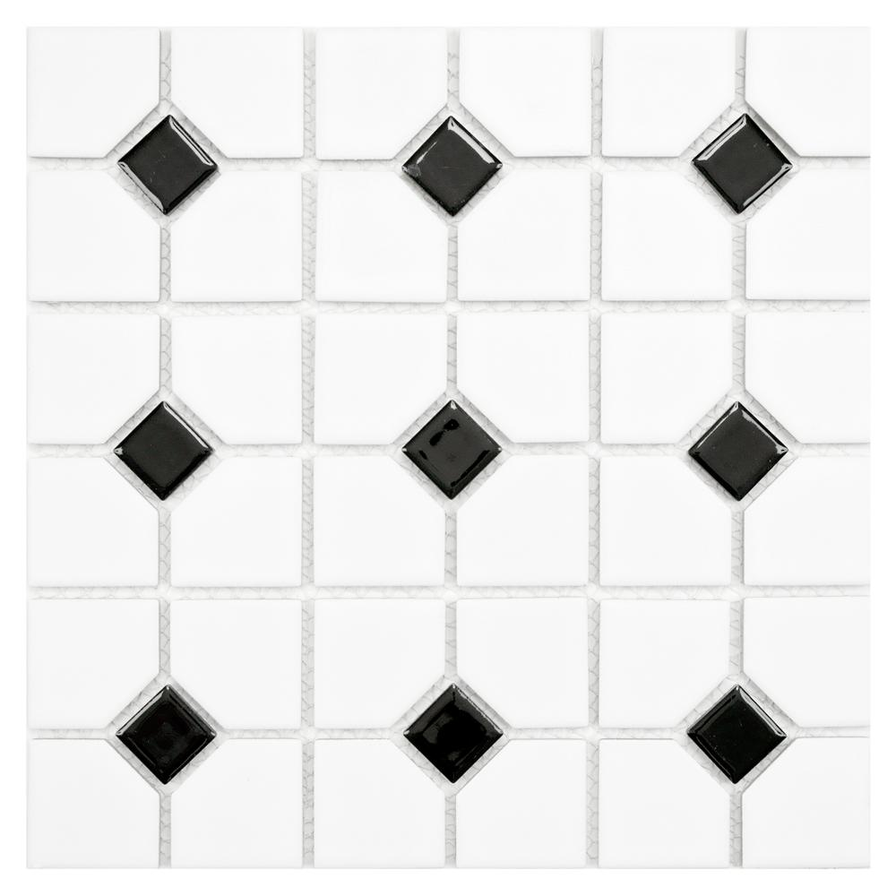 Merola Tile Oxford Matte White with Black Dot 11-1/2 in. x 11-1/2 in. x 6 mm Porcelain Mosaic Tile (9.2 sq. ft. / case)