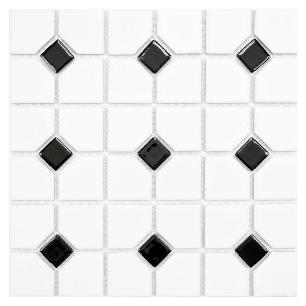 Oxford Matte White with Black Dot 11-1/2 in. x 11-1/2 in. x 6 mm Porcelain Mosaic Tile (9.38 sq. ft. / case)