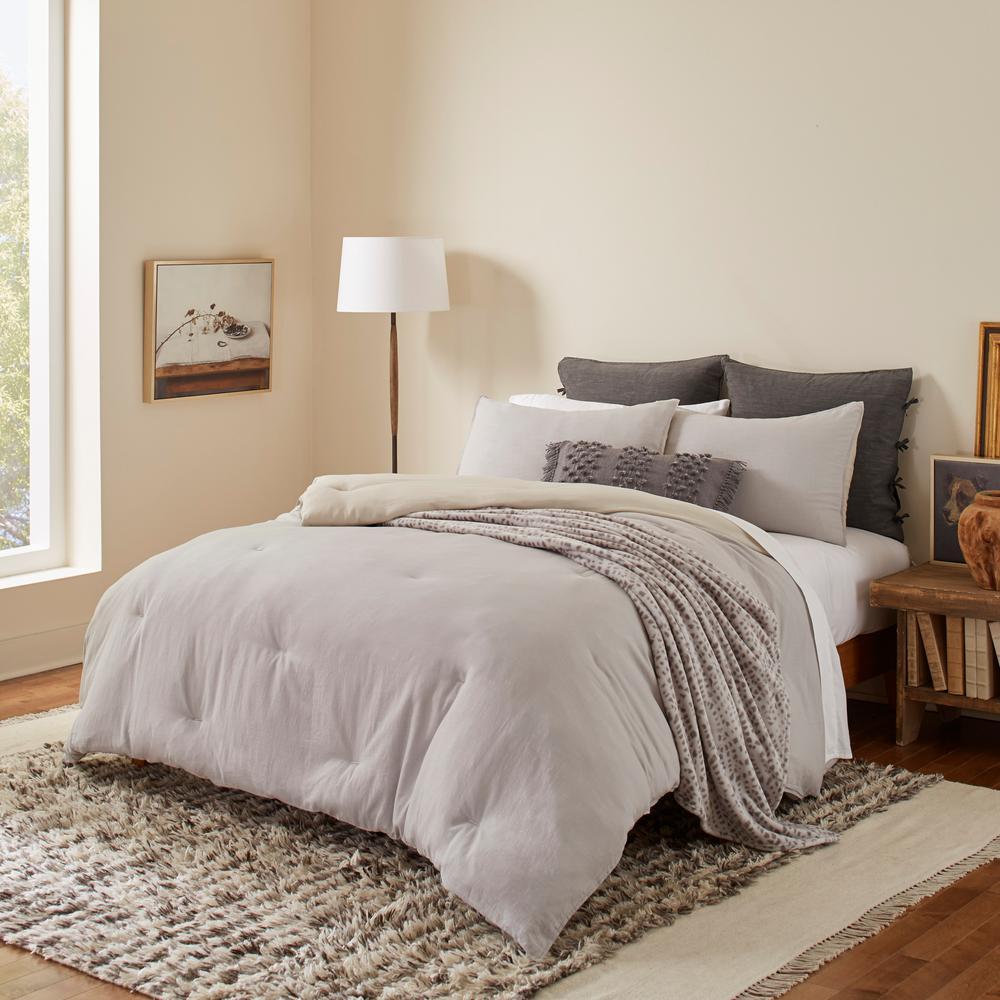 Washed Cotton Reversible 3-Piece Grey Cotton Full/Queen Comforter/Sham Set