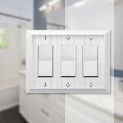 Cottage 3 Gang Rocker Composite Wall Plate - White