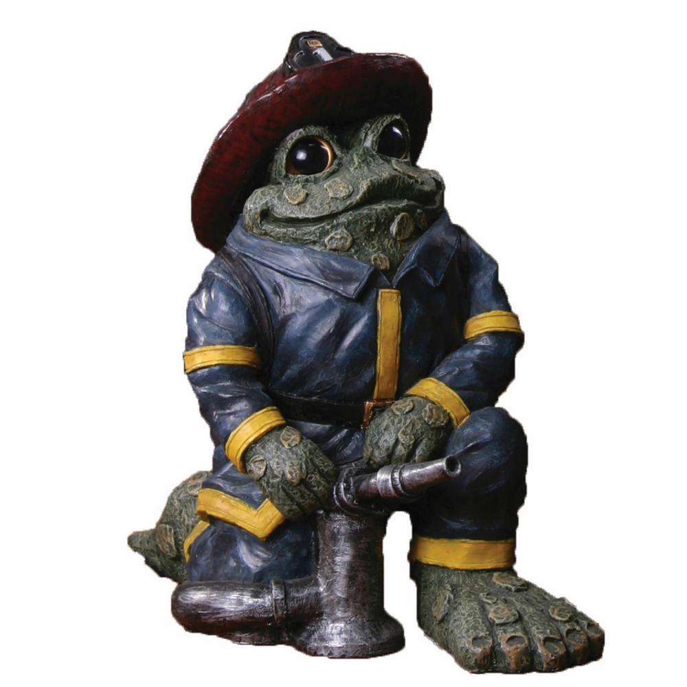 HOMESTYLES 9 in. Kneeling Fireman Toad with Hose Collectible Home and Garden Frog Statue