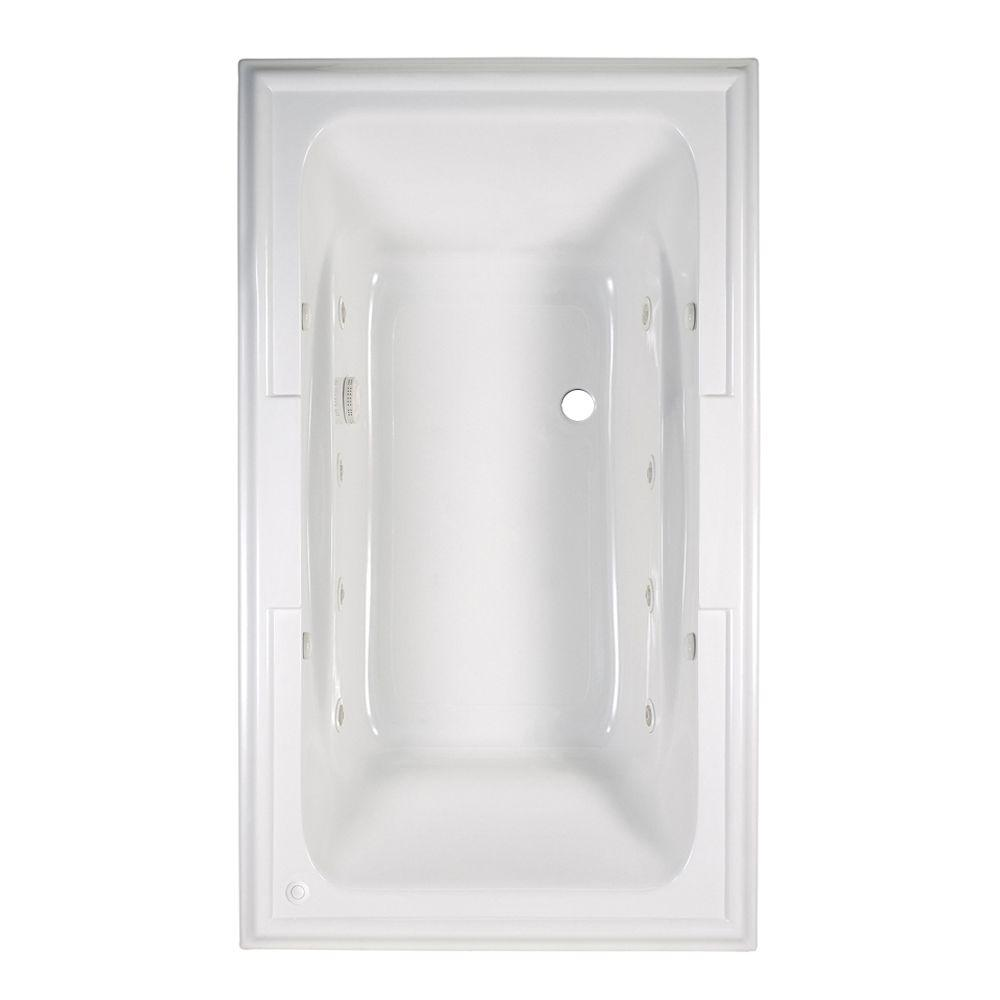 American Standard Town Square 6 ft. x 42 in. Center Drain EcoSilent EverClean Whirlpool Tub with Chromatherapy in White