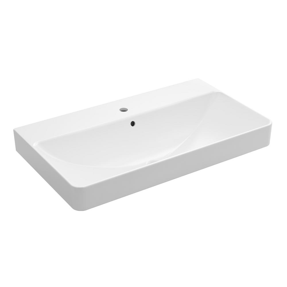Delightful KOHLER Vox Trough Vessel Sink In White