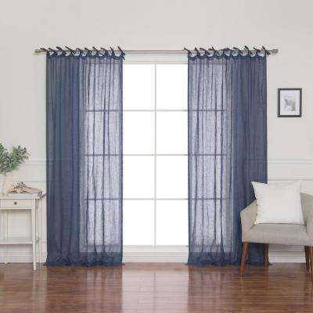 Indigo Linen Gauze Tie Top Curtain Panel 52 in. x 84 in.
