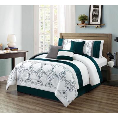 MHF Home Charlotte Medallion 7-Piece Teal Queen Comforter Set