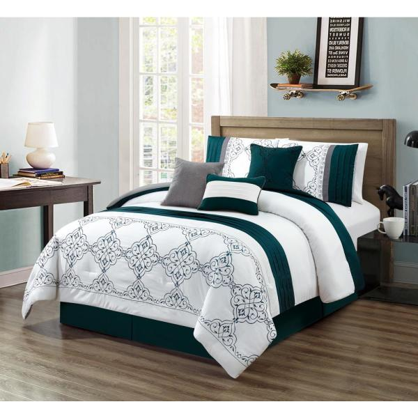 Morgan Home MHF Home Charlotte Medallion 7-Piece Teal Queen Comforter Set