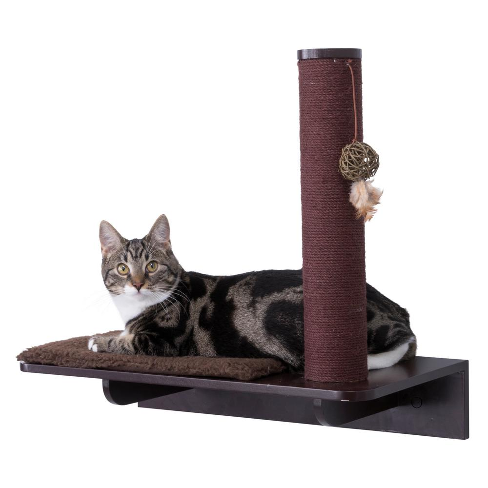 Brown Wall Mount Scratching Post with Relaxing Base
