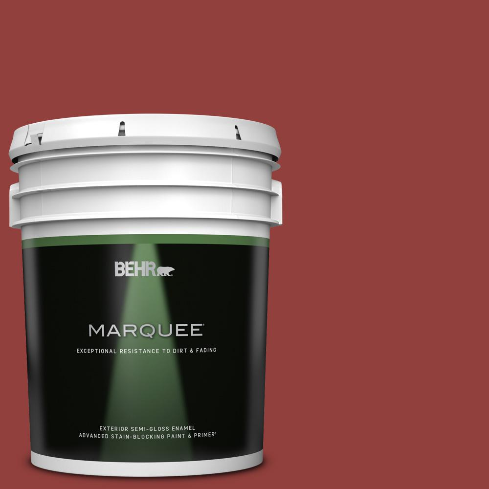 Behr Marquee 5 Gal Bic 49 Red Red Red Semi Gloss Enamel Exterior Paint And Primer In One 545305 The Home Depot