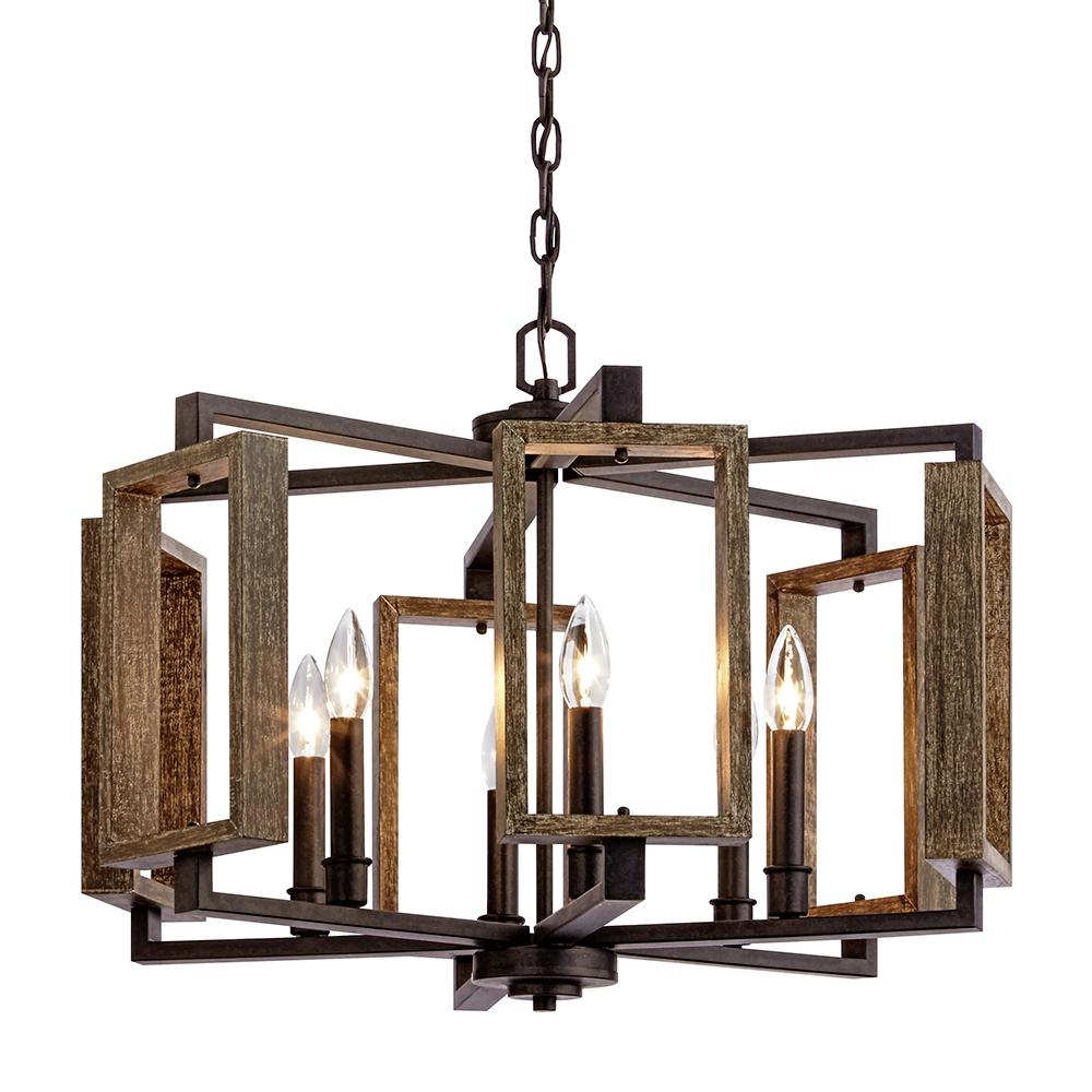Home Decorators Collection Zurich 6 Light Aged Bronze Pendant With Wood Accents