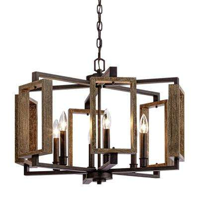 Marvelous 6 Light Aged Bronze Pendant With Wood Accents Home Interior And Landscaping Ponolsignezvosmurscom