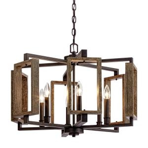 6light aged bronze pendant with wood accents