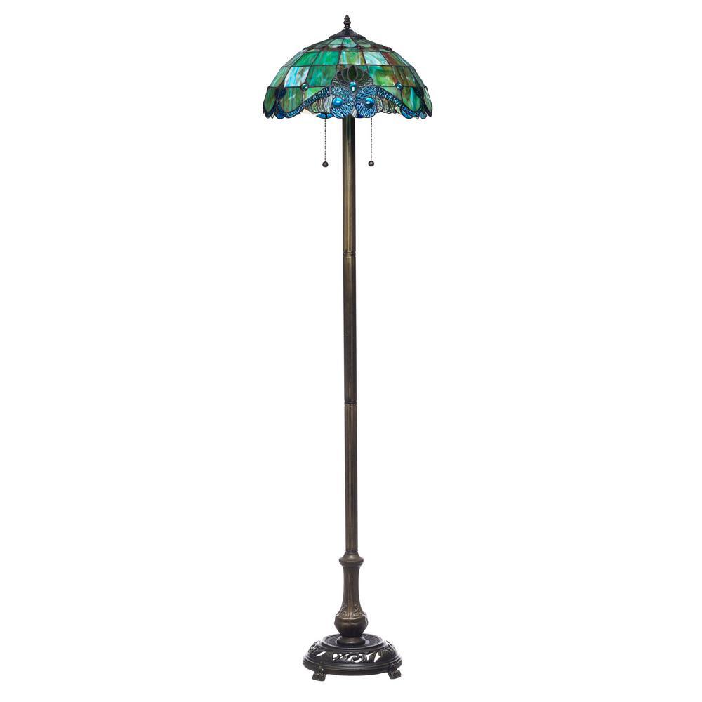 Tiffany 58 in. 2-Light Vintage Bronze Floor Lamp