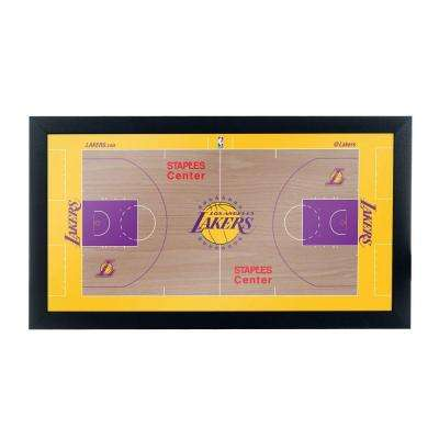 Los Angeles Lakers Official NBA Court 15 in. x 26 in. Black Framed Plaque
