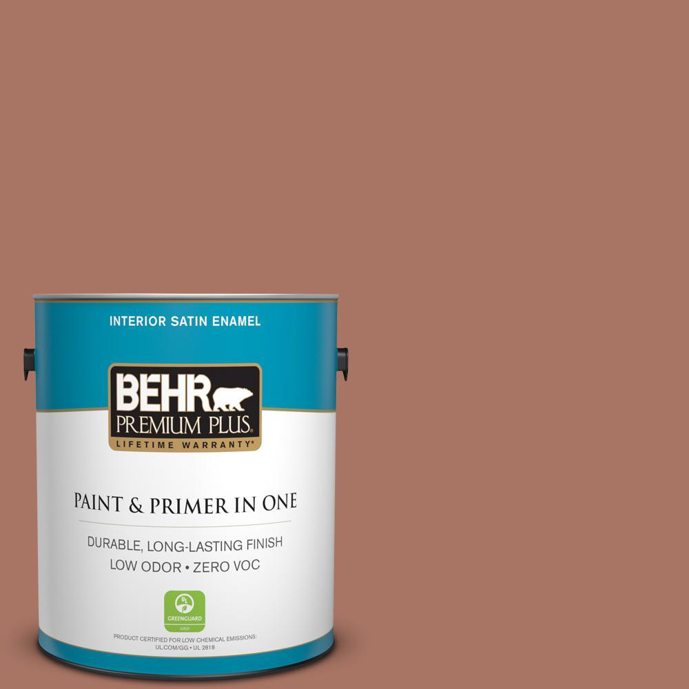 BEHR Premium Plus 1-gal. #210F-6 Chutney Brown Zero VOC Satin Enamel Interior Paint