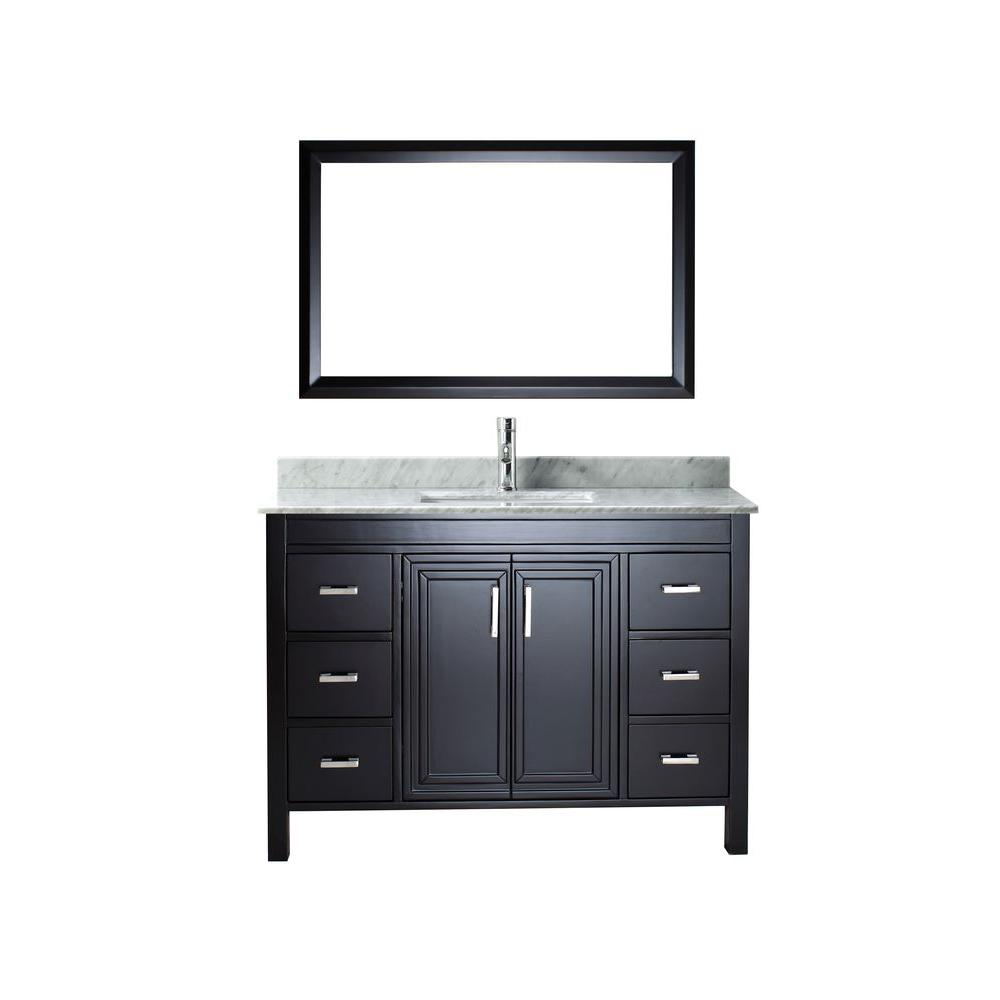 ART BATHE Dawlish 48 in. Vanity in Espresso with Marble Vanity Top in Carrara White and Mirror