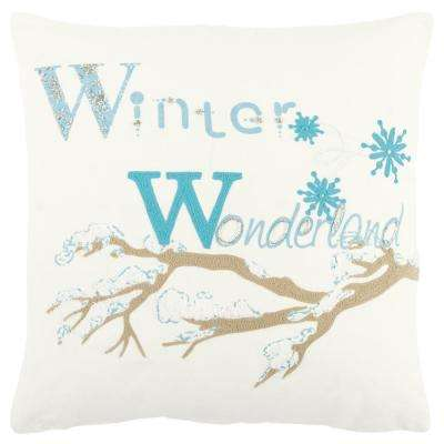 Christmas Winter Wonderland 20 in. x 20 in. Decorative Filled Pillow