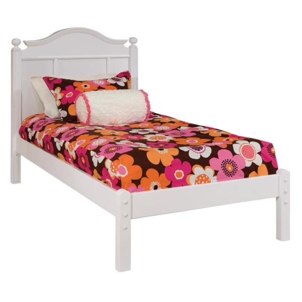 Emma White Twin Bed With Tall Headboard And Low Footboard