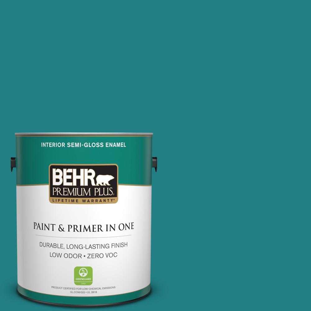 BEHR Premium Plus 1-gal. #510D-7 Pacific Sea Teal Zero VOC Semi-Gloss Enamel Interior Paint