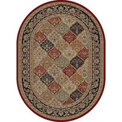 Sensation Red 5 ft. 3 in. x 7 ft. 3 in. Traditional Oval Area Rug
