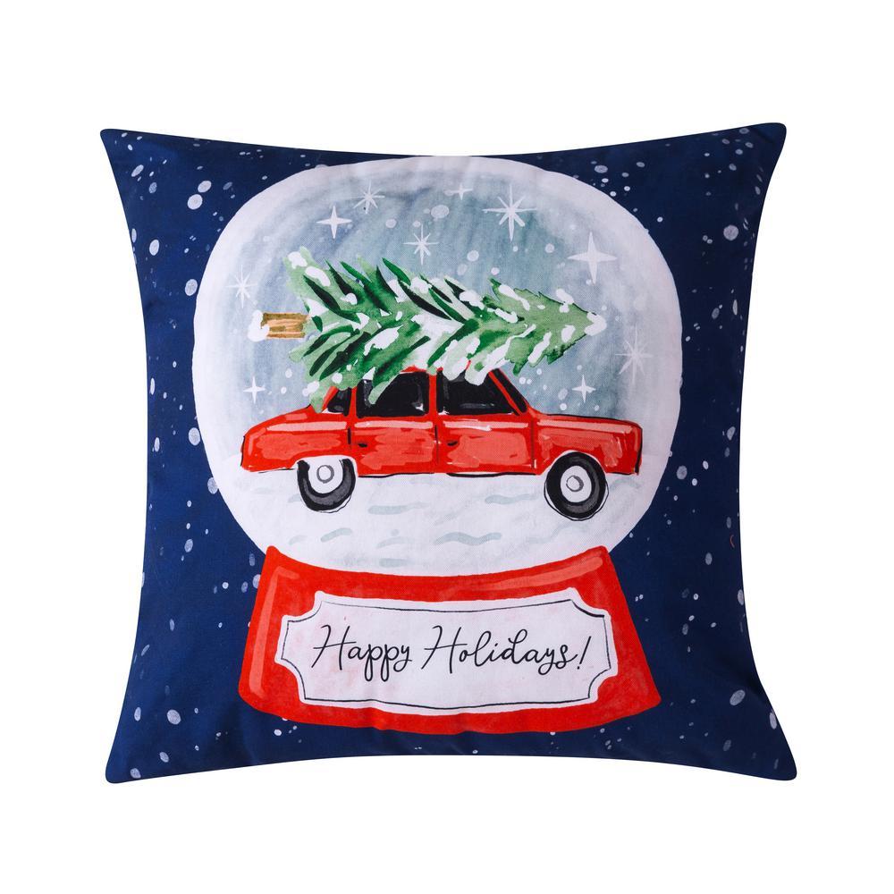 Sara B Snowglobe Navy Plush Polyester 20 In X 20 In Throw Pillow Sb320mu20 The Home Depot