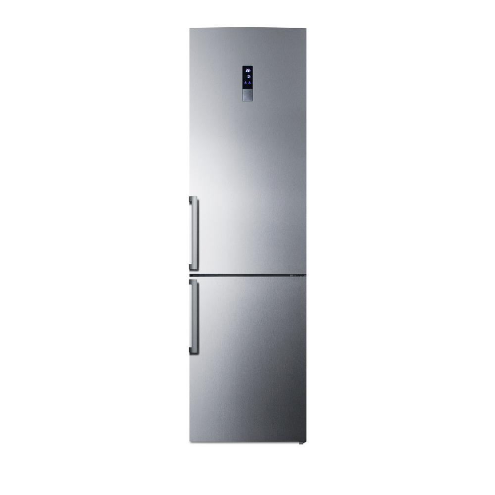 Home depot counter depth refrigerator - Summit Appliance 24 In W 13 3 Cu Ft Bottom Freezer Refrigerator In Stainless Steel Counter Depth Ffbf191ss The Home Depot