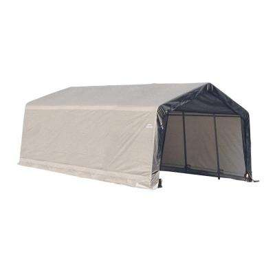 13 ft. x 20 ft. x 10 ft. Grey Steel and Polyethylene Garage without Floor