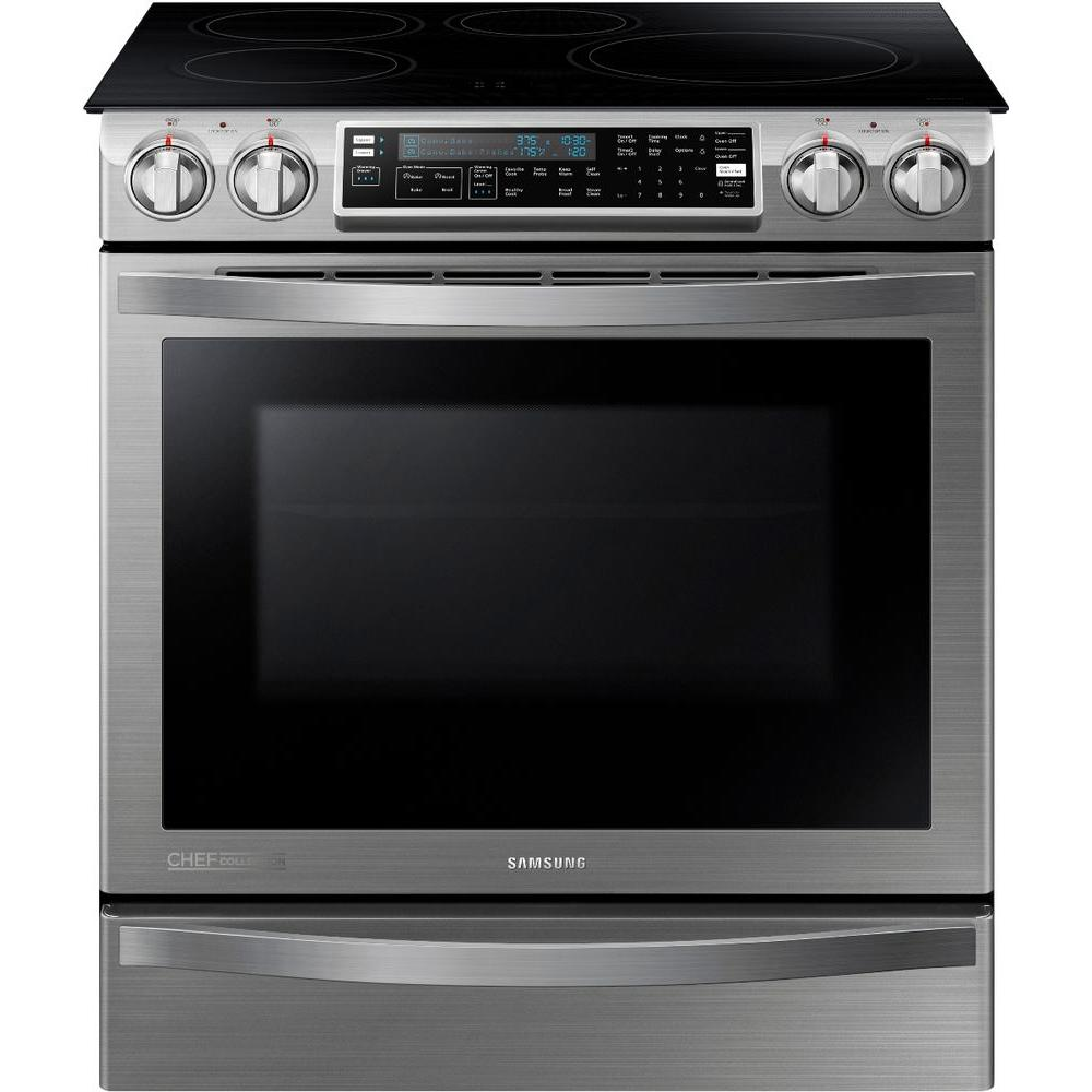 Samsung Chef Collection 30 in. 5.8 cu. ft. Slide-In Flex Duo Electric Induction Range with Convection Oven in Stainless Steel
