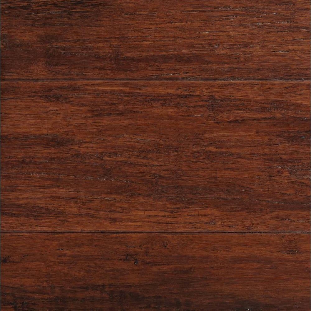 Home Decorators Collection Take Home Sample - Hand Scraped Strand Woven Brown Solid Bamboo Flooring - 5 in. x 7 in.