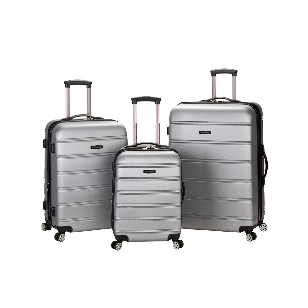3-Piece ABS Upright Luggage Set with Spinner Wheels, Silver
