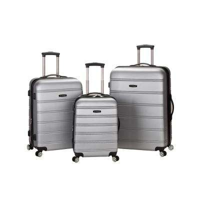 Rockland Melbourne 3-Piece Hardside Spinner Luggage Set, Silver