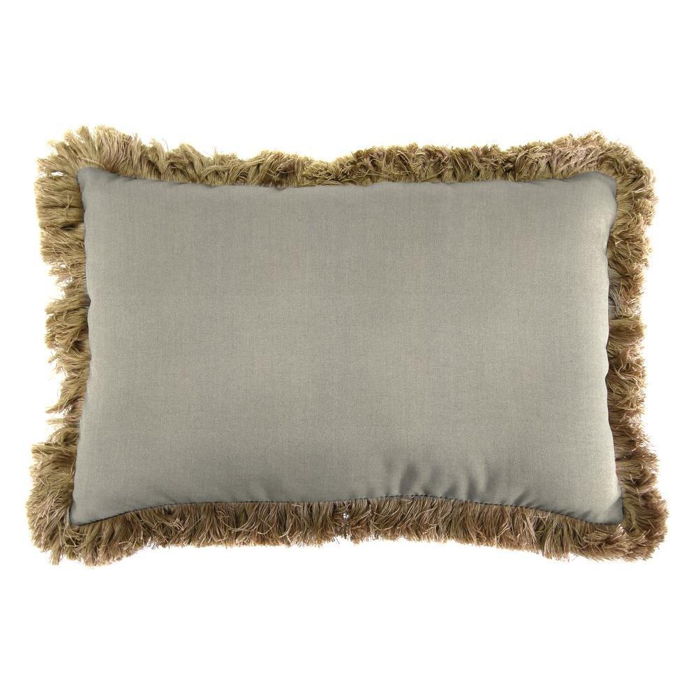 Sunbrella 9 in. x 22 in. Spectrum Dove Lumbar Outdoor Pillow with Heather Beige Fringe