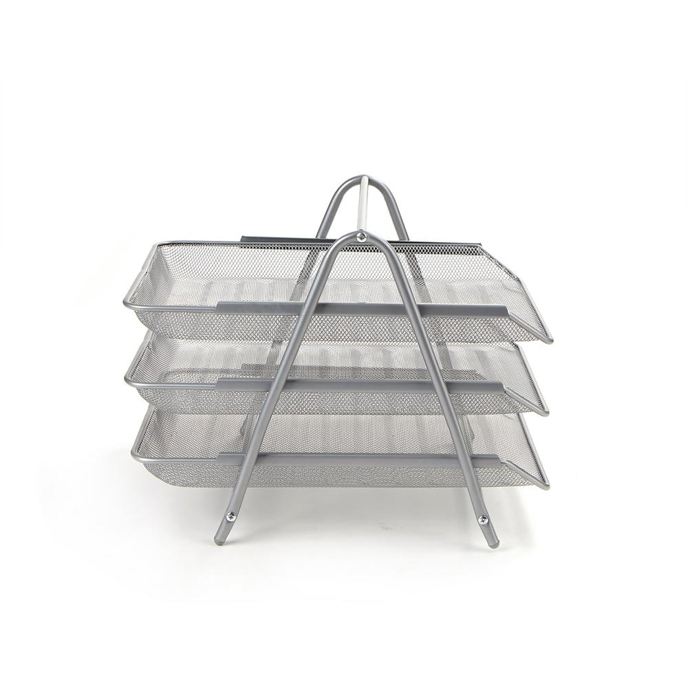 Paper Tray Desk Organizer 3 Tier Steel Mesh Silver Home Office Supply Accessory