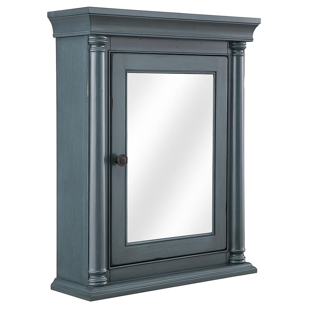 H Surface Mount Mirrored Medicine Cabinet In Distressed Blue Fog