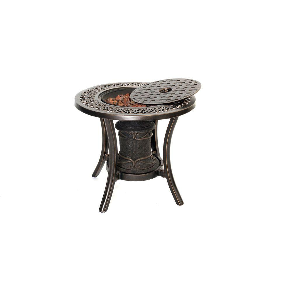 Hanover Traditions Aluminum Round Patio Outdoor Side Table with ...