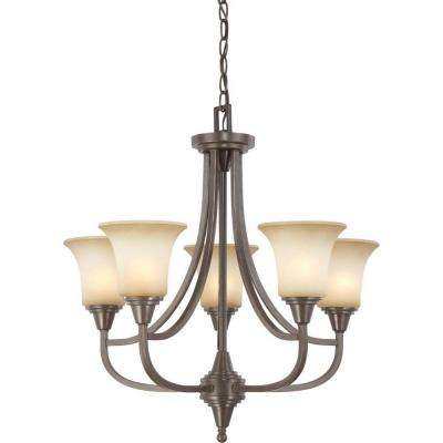 5-Light Vintage Bronze Chandelier with Auburn Beige Glass Shade