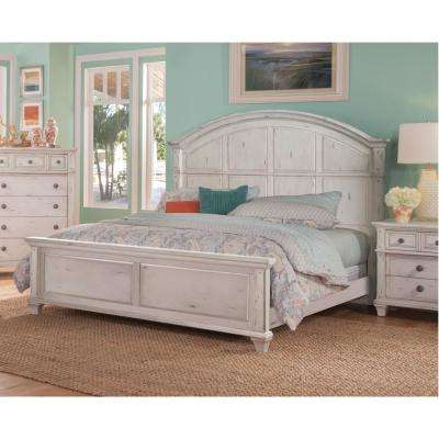 Sedona Antique Cobblestone White King Panel Bed