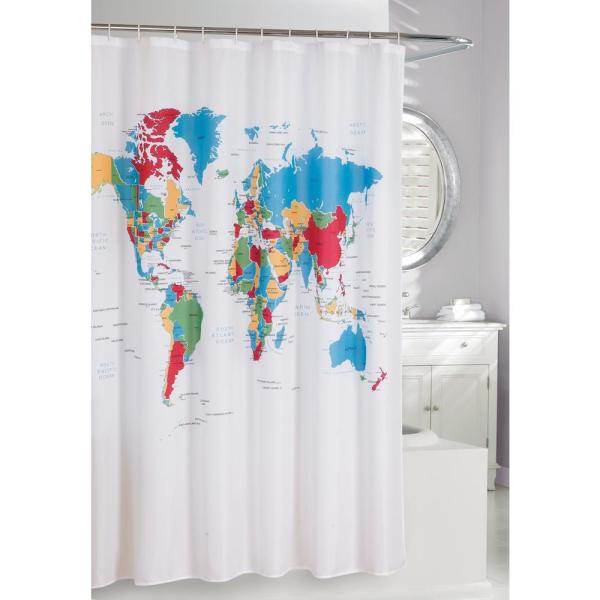 Global 71 in. Multi Color Fabric Shower Curtain 205090 - The Home Depot