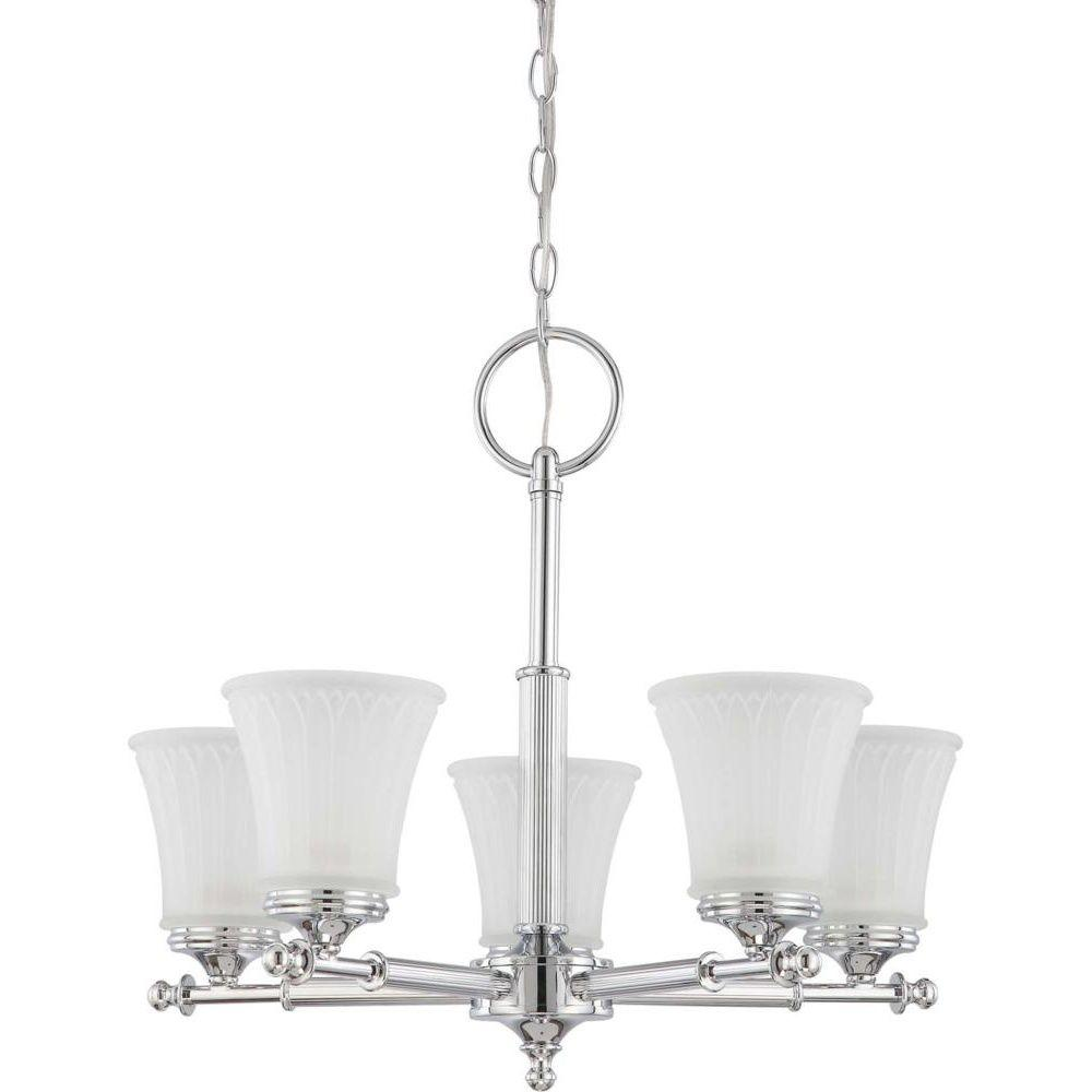 Glomar 5 light polished chrome chandelier with frosted etched glass glomar 5 light polished chrome chandelier with frosted etched glass shade mozeypictures Image collections