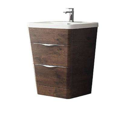 Milano 26 in. Vanity in Rosewood with Acrylic Vanity Top in White