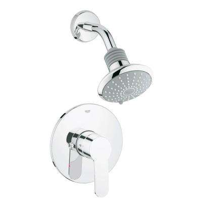 Eurostyle Cosmopolitan 1-Handle Shower and Valve Trim Kit in Starlight Chrome (Valve Not Included)