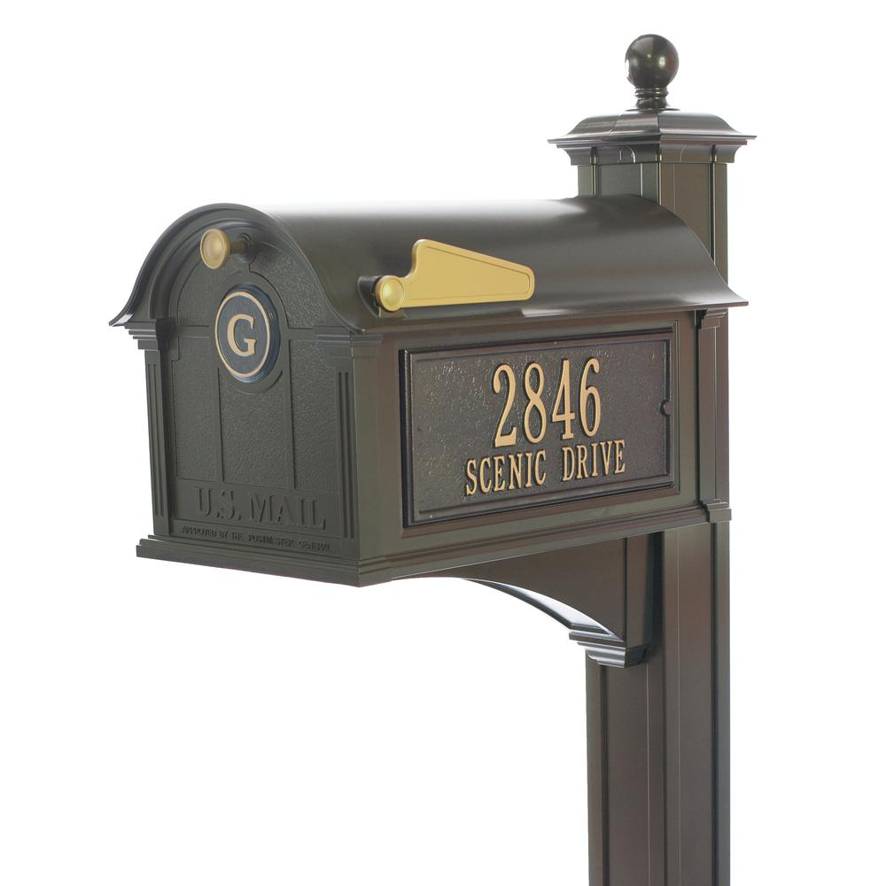 Whitehall Products Balmoral Bronze Streetside Monogram Mailbox Package