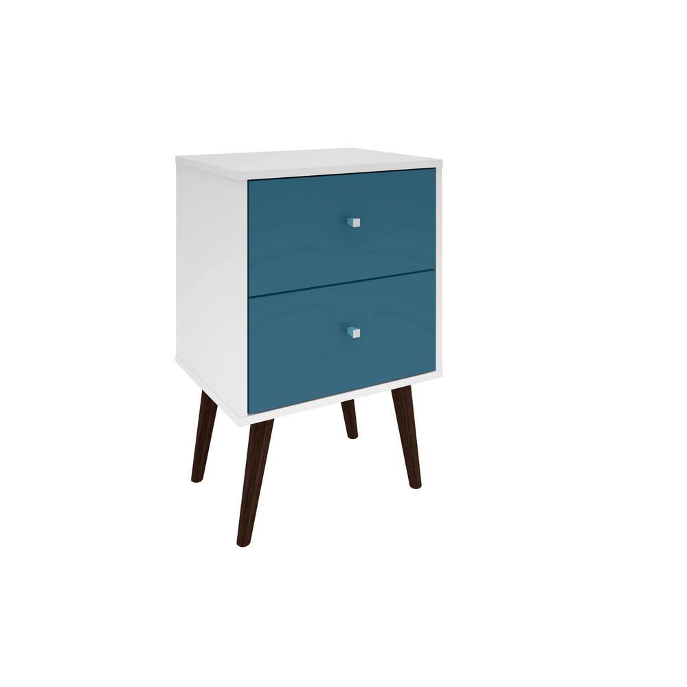Manhattan Comfort Liberty Mid Century White And Aqua Blue Modern Nightstand 2 0 With Full